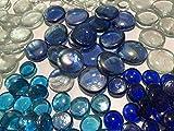 FAIRY TAIL & GLITZER FEE 210 Stück Deko-Steinen Granulate 20 bis 40mm Glas-Steine Streugranulat Tischdekoration Vasen-Füllungen Flache Glas Steine Glitzersteine Dekoschalen klar blau - 3