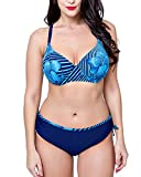 Damen Große Oberweite Plus Size Bikini Set Badeanzug Push up Mollige Saphir Blau 48