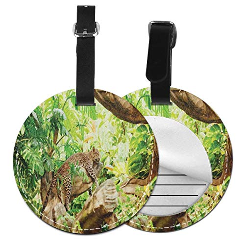 Round Travel Luggage Tags,Leopard On The Branch In Savannah Exotic Macro Tropical Leaf Jungle Wild Nature Art,Leather Baggage Tag
