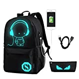 Cool Boys Girls Outdoor Backpack Designer Anime Luminous Backpack with USB Charging Port