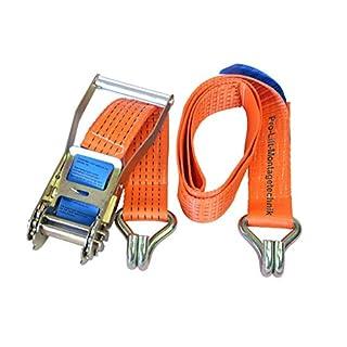 Pro-Lift-Montagetechnik 2500kg/5000kg Spanngurt 2-teilig, Länge 2m, mit Haken, orange CL0502J, 02117
