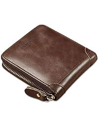 ff0bd3c5f Faneam Portafoglio Uomo Pelle RFID Portamonete Uomo con Cerniera Portafogli  Uomo Piccolo con 8 Slot Carte e Tasca per Monete,…