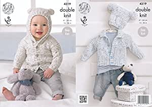 131dd4924 King Cole Double Knitting Pattern Baby Hooded or Collared Cardigan ...