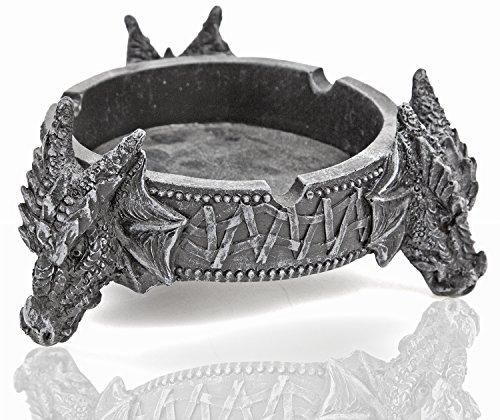 Aschen-Becher Drachen-Kopf Gravur 11cm Glyphen Mittelalter Fantasy Mystik Gothic Massiv Teufel Hölle Satan Halloween Dekoration Ascher Zigaretten-Ascher