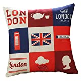 London Charakter Flagge Leinen Kissen Werfen Kissenbezug Fall Home Sofa Dekoration, Leinen, A# 9 Grid England, 45x45cm(17.72x17.72in)(Approx)