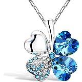 Merdia Vierblaettriges Kleeblatt Herzfoermige Swarovski Elemente Kristall Halskette 16