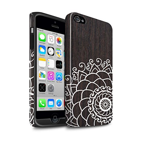 STUFF4 Glanz Harten Stoßfest Hülle / Case für Apple iPhone 4/4S / Rustikales Muster / Fein Spitzenborte Holz Kollektion Henna