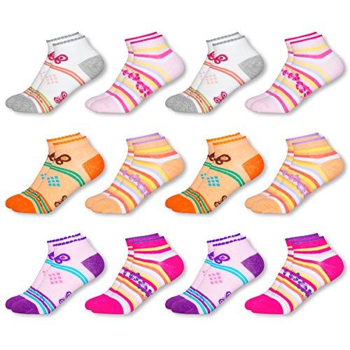 Mctam Mädchen Socken Sneaker Damen 12er Pack 90% Baumwolle Mix Motiv, 23-26, 12x Mädchen Sneaker 23