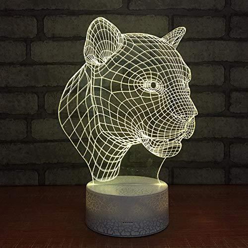 CYJQT Led Nachtlicht 3D Kinder Leopard Illusion Stimmungslicht Fernbedienung Nachttischlampe 7 Farben Ändern Touch Switch Schreibtisch Lampen Geburtstagsgeschenk -