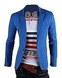 Herren Anzug Business Slim Fit Reverskragen Jacke Lässige Sakko Blazer See-Blau L