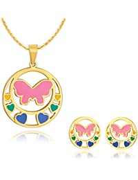Spargz Gold Plated Love Heart Butterfly Style Fusion Pendant Necklace And Stud Earrings For Women ALPS_5004