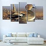 WODES 5 Pezzi HD Anatra Caccia agli Uccelli Tela Stampa Pittura Stampa Poster Decorazione della Casa Arte della Parete 30 * 40 * 2 30 * 60 * 2 30 * 80Cm Nessuna Cornice