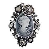 Vintage Königin Lady Portrait Brosche, Viktorianischen Design Crystal & Stahl PIN für Pullover, Schal, Mantel, Handtasche (Stil 2 Silber)- Samtlan
