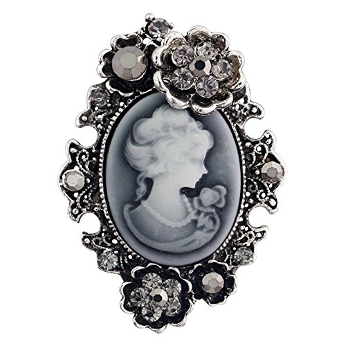Crystal Girls Pullover (Vintage Königin Lady Portrait Brosche, Viktorianischen Design Crystal & Stahl PIN für Pullover, Schal, Mantel, Handtasche (Stil 2 Silber)- Samtlan)