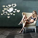 Yistu Wall Art Sticker, Heart Pattern 3D Removable Heart Art Decor Wall Stickers Living Room Decoration