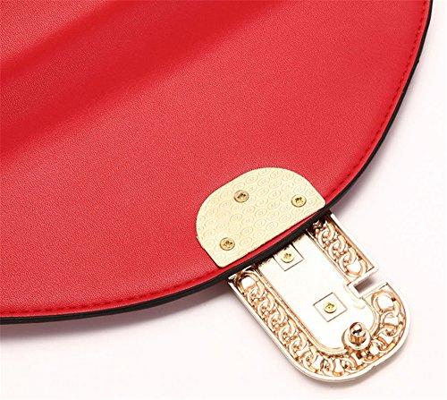 Xinmaoyuan Borse donna pu colore semplice sezione trasversale semplice fibbia piccola borsa tracolla messenger bag Mini Bag,rosso Rosso