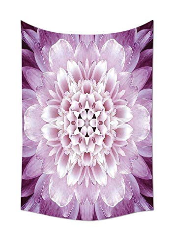 daawqee Dahlia Flower Tapestry Purple Floral Macro Close Up Photography Mandala Design Bedroom Living Kids Girls Boys Room Dorm Accessories Pink Purple Unique Home Decor