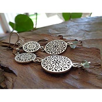 ✿ ZARTE MANDALAS & FLUORIT STEIN ✿ ausgestanzte, lange Ohrringe mit Naturstein