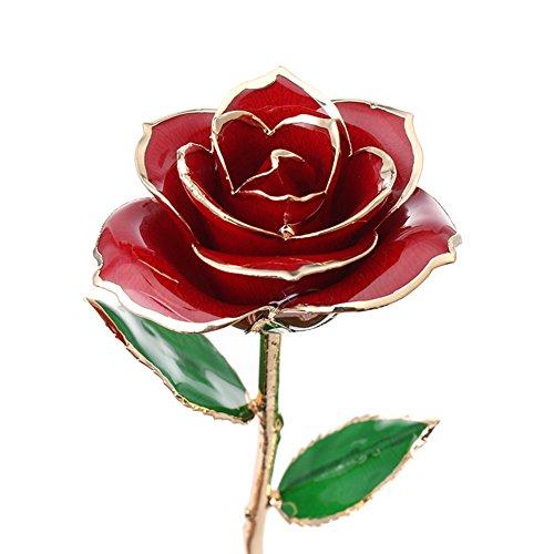 L'oro immersa rosa, rose staminali lunga fiore vita reale, il più grande dono di amore, anniversari di matrimonio e compleanni (rosso)