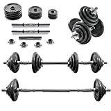 Home Treats 20KG Adjustable Cast Iron Dumbell/Barbell Set For Weight Lifting Training Bodybuilding Home Gym