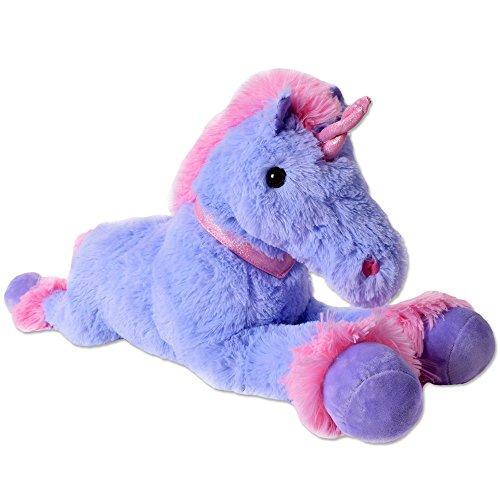 TE-Trend XXL Einhorn Kuscheltier Plüsch Tier Pferd Plüschtier liegend 80cm lila pink Horn Halsband - Stofftier Pferd Großes