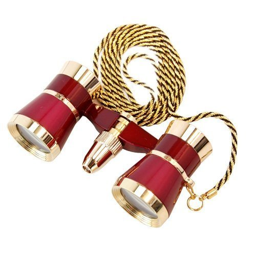 HQRP 3 x 25 Theaterglas Fernglas / Opernglas mit roter Leselampe/ Burgund in goldener Zierleisten mit Halskette von