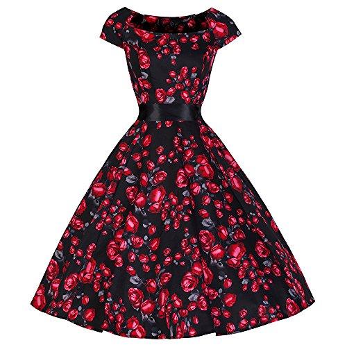 Pretty Kitty Fashion 50s Schwarz Rot Vintage Rose Tea Dress, Gr. EU 34 / UK 6