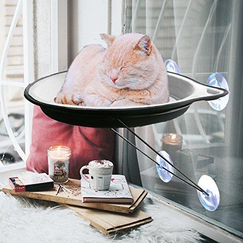 Hamaca para ventana de gato con ventosa y cojines cortos de felpa para...