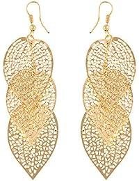 914e8ea7f79a Beisoug 1 Par Mujeres Aleación Hojas Huecas cuelgan aretes Eardrop Jewelry