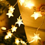 SHHE Fairy Lights Battery Powered Stars String Lights 5M 40 LED Battery Operated Decorative Lighting for Christmas Wedding Birthday Indoor Outdoor Use(Warm White)
