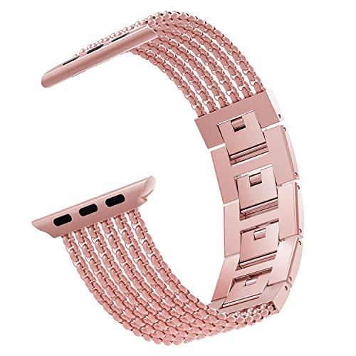 MoKo Cinturino Orologio per Apple Watch 38mm 40mm Series 5/4/3/2/1, Cinturino Smartwatch in Acciaio Inossidabile con Maglie antisudore, Cinturini Ricambio, Cinturino Accessori, Rosa