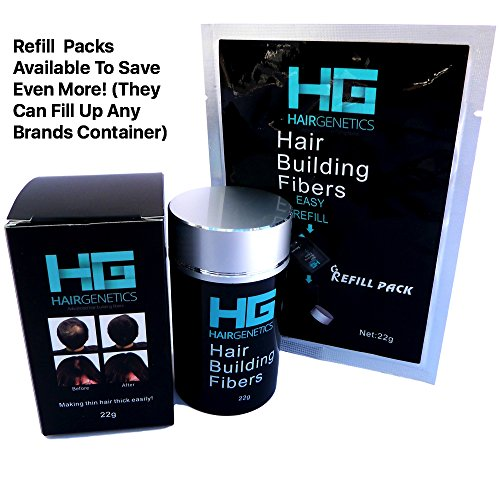 Hair Genetics� Advanced Keratin Hair Building fibres Large 22g Refill Pack, Natural, Thick & Textured, Amazing New Concept to Save Money, Professional Quality Hair Loss Concealer Fibers For use by Men and Women Dont Throw Away Your Old Container, Works Wi