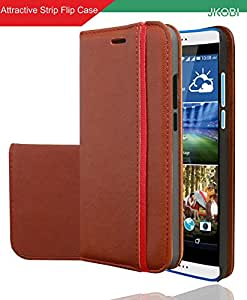 Jkobi Branded Professional Designed Magnetic PU Leather Flip Wallet Case Cover For HTC Desire 10 Lifestyle -Leather Brown