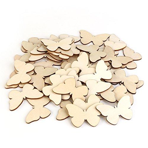 gaestebuch holzscheiben TINKSKY 50 Stück Holzscheiben Diy Holz Deko Holz Scheiben Scheiben unvollendete Schmetterling Holz Ausschnitt