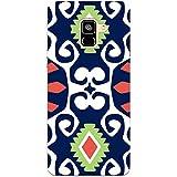 MADANYU Blue Multi Pattern Trendy Pattern Designer Printed Hard Back Shell Case For Samsung A8 Plus