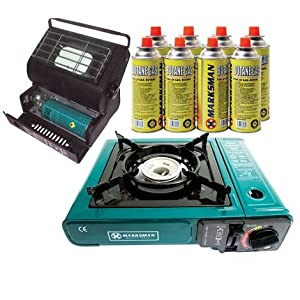 51nXP59YP8L. SS300  - PORTABLE GAS STOVE & HEATER WITH 8 GAS CANISTER BOTTLES