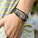 HuntGold 1 X Handgefertigt Geflochten Perlen Wickel Armband Mode Unisex PU-Leder-Armband Armreif