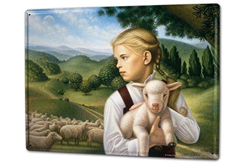 Blechschild XXL Süßes Kinderzimmer Kind mit Lamm
