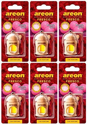 Areon Fresco Auto Lufterfrischer Bubble Gum Duft Autoduft Kaugummi Rot Glas Flasche Duftflakon Parfüm Flakon Holz Aufhängen Hängend Anhänger Spiegel Geruch Erfrischer Set 4ml 3D ( Bubblegum Pack x 6 ) -
