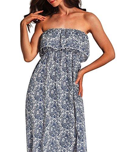 Damen Sommer Maxi Rock Maxilang Kleid Tube Kleid Chiffon Kleider lotus hülse Schnitt Elegant Dünnschnitt Sommerkleid Blau Paisley-Muster Bodenlang Kleider Blau