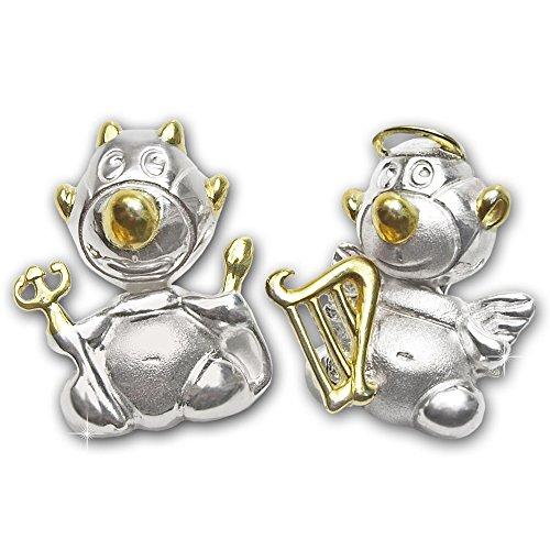 CLEVER SCHMUCK 2 Silberne Partneranhänger geteilt jeweils mit Engel und Teufel bicolor seidenmatt und glänzend STERLING SILBER 925 teilvergoldet