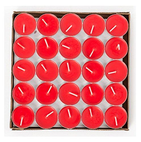 HorBous 50 por Caja - 1.5-2 Horas Que queman el Tiempo de la Calidad Unscented el té se Enciende Velas (Rojo, púrpura, Blanco, Color de Rosa) (Rojo)
