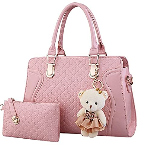 Coofit Leather Handbag Messenger Bag for Ladies + Small Bag+Bear Key Chain in Pink