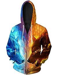 GLESTORE Sweat-Shirt à Capuche Homme Manches Longues Hiver Slim Fit Noir  Bleu Marron 9396e7eb5962