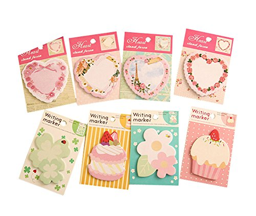 Set di 20 Creative Loves Flowers Cakes Sticky Note Divertente Notepad, stile casuale