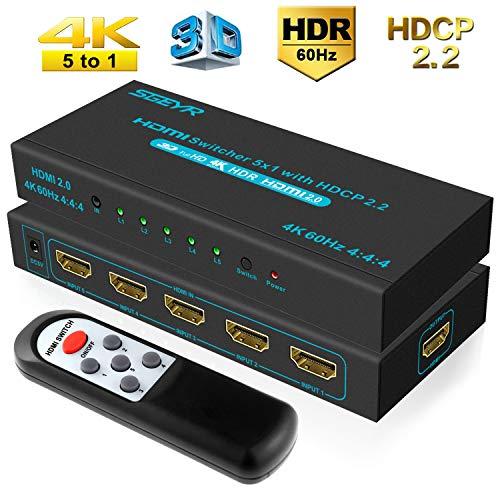 60Hz 5x1 Port HDMI 2.0 Switcher 5 in 1 HDMI Umschalter mit IR Fernbedienung Unterstützung 4K 4:4:4 3D 1080P für PS4 Pro Fire Stick Xbox ()