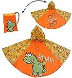 Regenponcho / Regencape - Dinosaurier - Dino - Gr. 104 - 110 - 116 - 122 - 128 - circa 3 bis 6 Jahre - für Kinder - Jungen - Dinos - Fahrrad / Regen Poncho - Regenmantel Regenjacke - orange