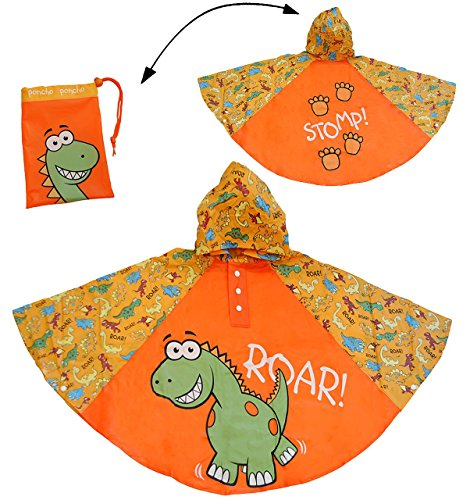 Regenponcho / Regencape - Dinosaurier - Dino - Gr. 104 - 110 - 116 - 122 - 128 - circa 3 bis 6 Jahre - für Kinder - Jungen - Dinos - Fahrrad / Regen Poncho - Regenmantel Regenjacke - orange (Komplette Regen-mantel)