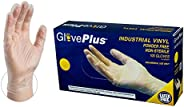 AMMEX Clear Vinyl 4 Mil Disposable Gloves - Powder-Free, Non-Sterile, Food Safe, Latex Free, Medium, Box of 10