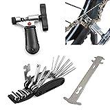 YunLi - Kit di riparazione per bicicletta, 16strumenti in 1 per riparazione catena bicicletta, indicatore di usura della catena, divisore, taglierina